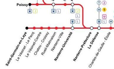 Plan Nanterre-Préfecture sur le RER A